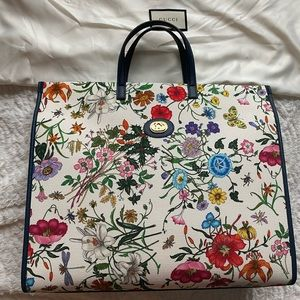 Authentic Gucci large flower tote